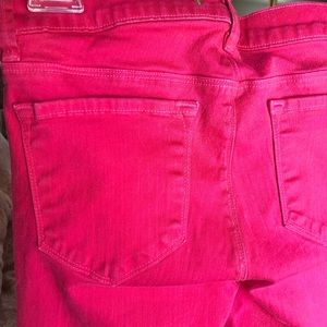 J Brand coated hot pink jeans